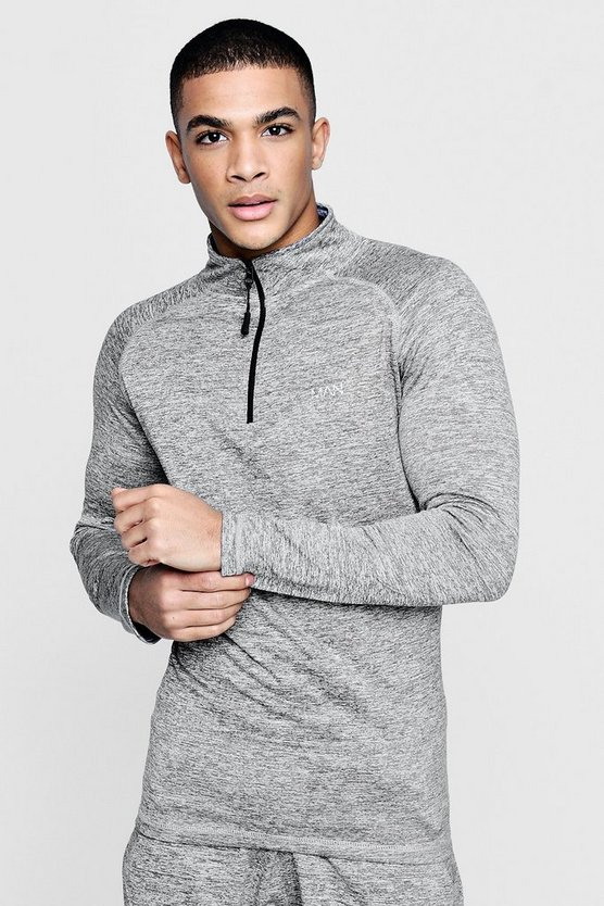 Mens Grey Active MAN Track Gym Top