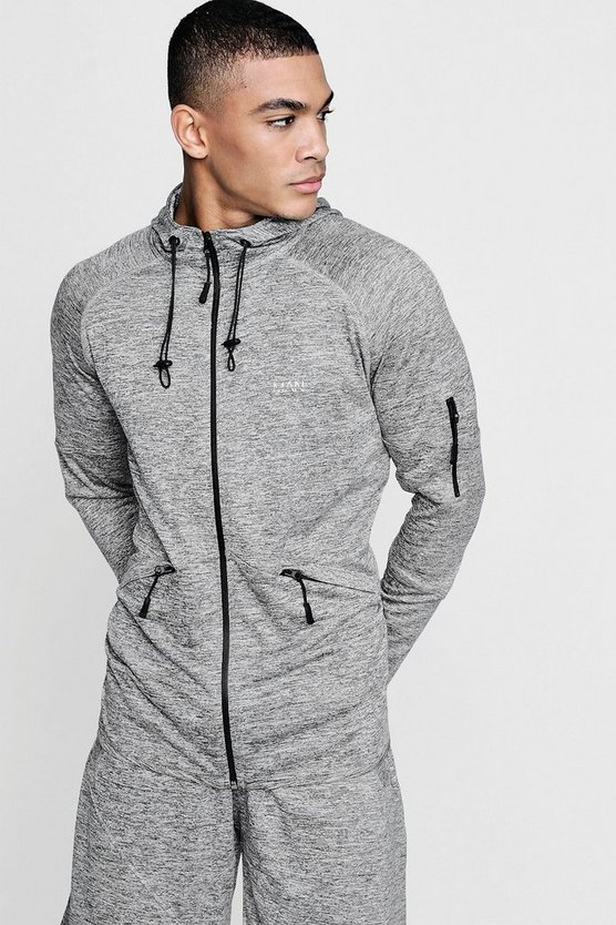 Mens Grey Active Zip Through Gym Hoodie