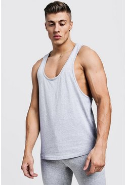 Mens Grey Active Gym Racer Vest