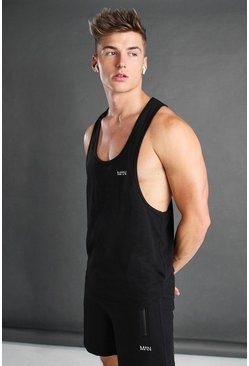 Mens Black Active Gym Racer Vest