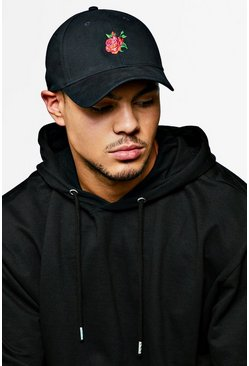 Mens Black Rose Embroidered Cap