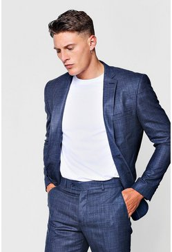 Mens Navy Textured Skinny Fit Suit Jacket