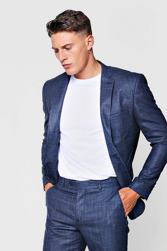 Textured Skinny Fit Suit Jacket