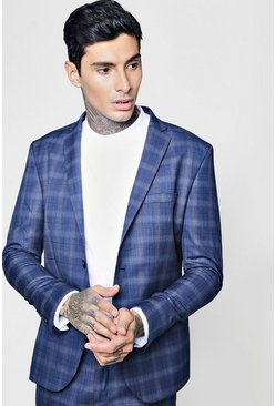 Mens Navy Check Skinny Fit Suit Jacket