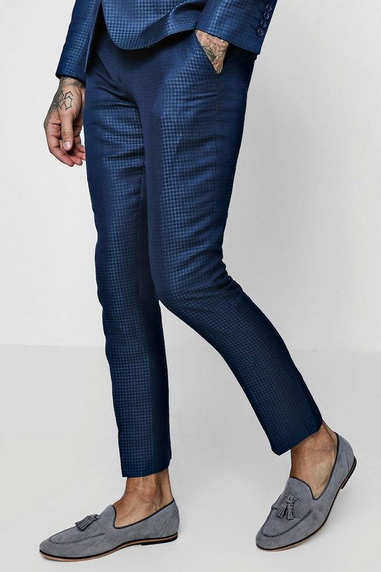 Mens Slate Gingham Skinny Fit Suit Trouser