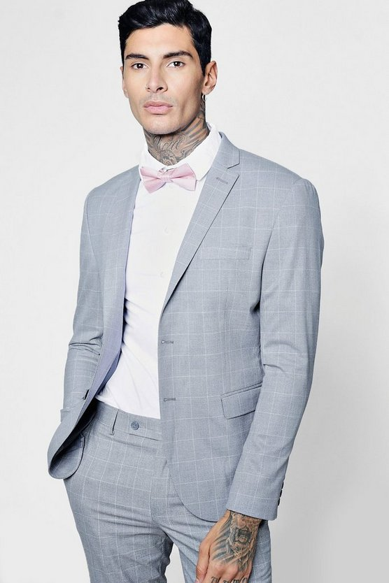 Window Pane Check Skinny Fit Suit Jacket