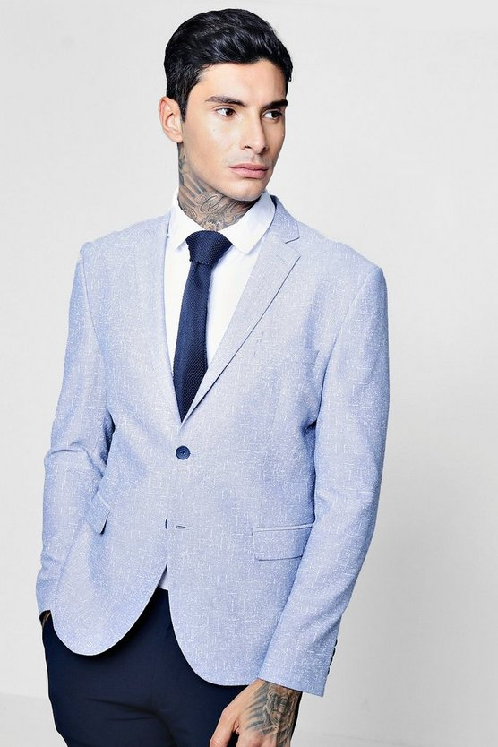 Pale Blue Cotton Skinny Fit Summer Blazer
