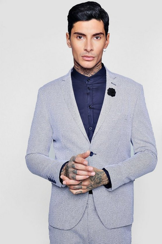 Mini Check Skinny Fit Suit Jacket
