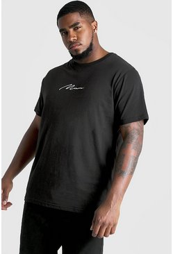 T-shirt firma Big And Tall, Nero, Maschio