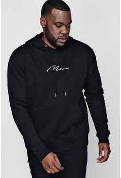 Mens Black Big And Tall MAN Signature Hoodie