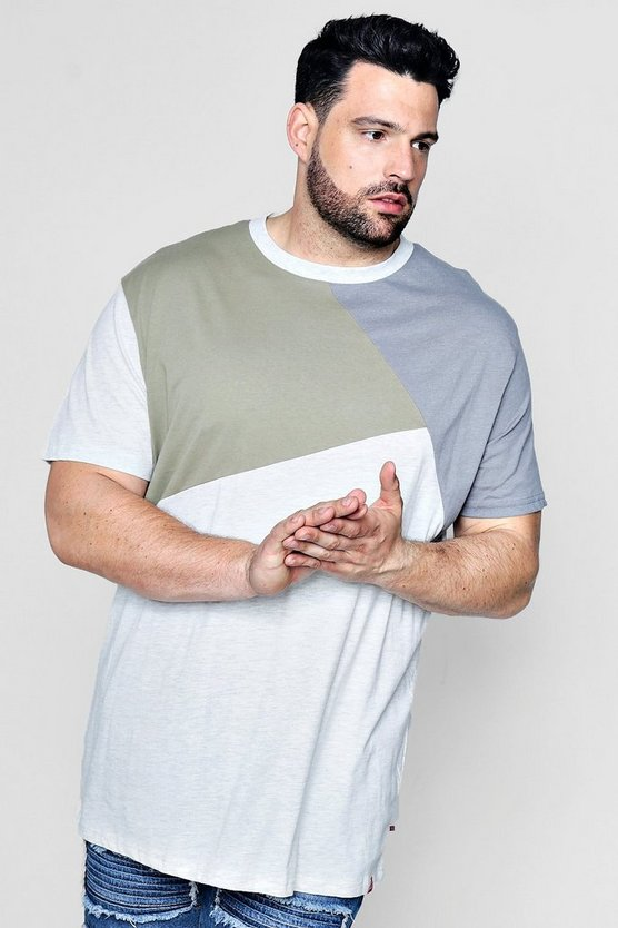Big and tall T-shirt a sezioni con blocchi colore
