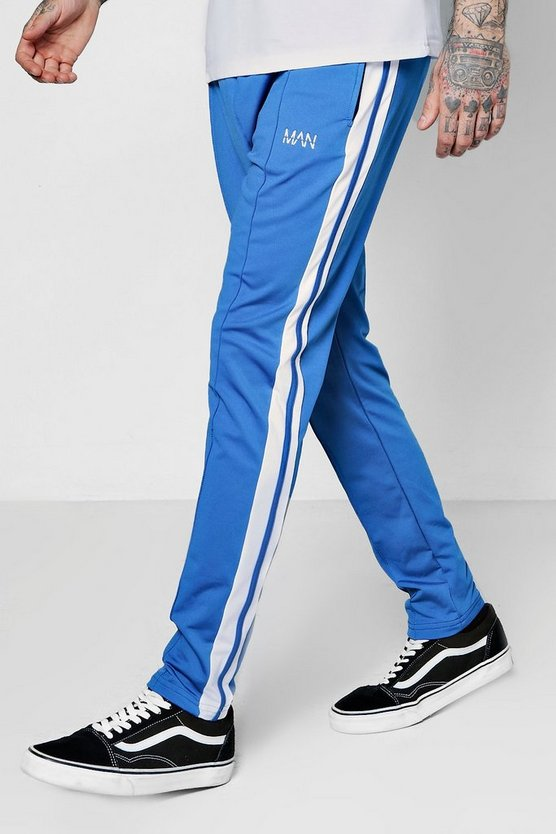 Skinny Fit MAN Tricot Joggers With Stripe