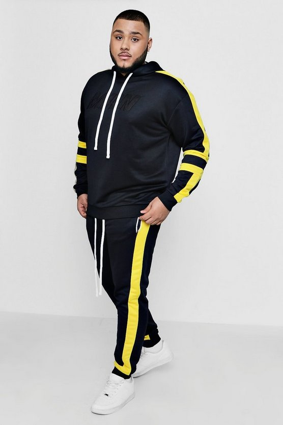 Mens Yellow Big And Tall MAN Moto Tricot Panel Tracksuit
