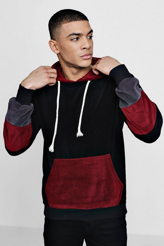 Colour Block Fleece Over The Head Hoodie