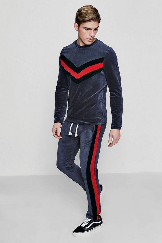 Velour Panelled Skinny Fit Sweater Tracksuit