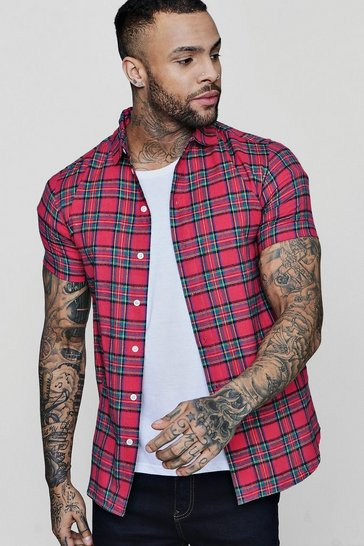 Mens Pink Short Sleeve Check Shirt