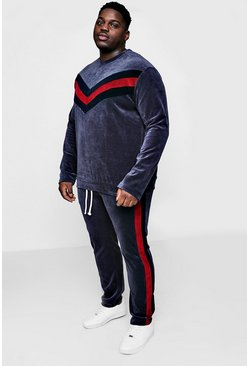 Big And Tall Velour Panelled Sweater Tracksuit, Slate, Uomo
