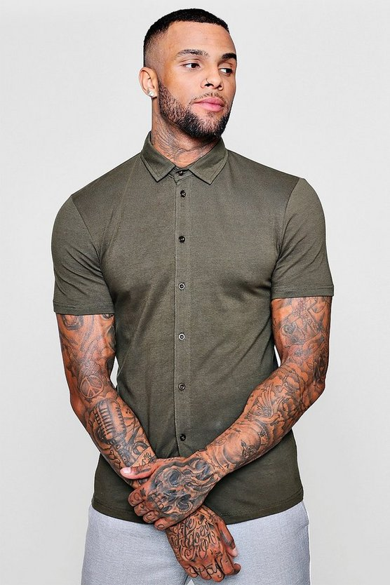 Mens Khaki Muscle Fit Short Sleeve Jersey Shirt