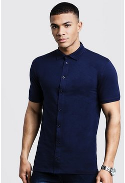 Muscle Fit Short Sleeve Jersey Shirt, Navy, Uomo