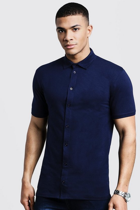 Mens Navy Muscle Fit Short Sleeve Jersey Shirt