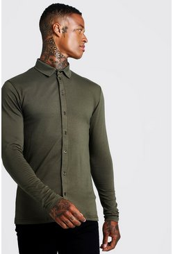 Mens Khaki Muscle Fit Long Sleeve Jersey Shirt
