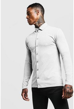 Mens Grey Muscle Fit Long Sleeve Jersey Shirt