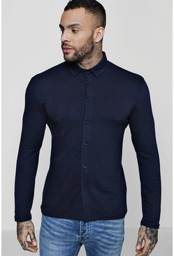 Mens Navy Muscle Fit Long Sleeve Jersey Shirt