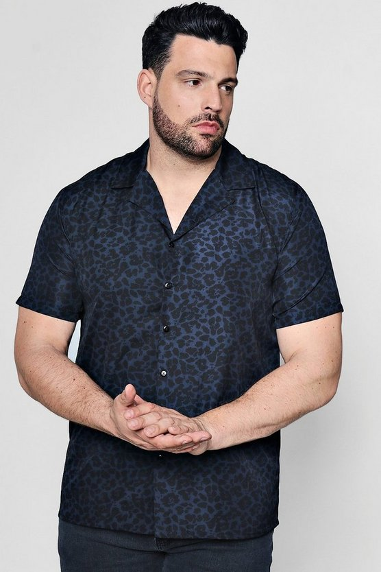 Big And Tall Leopard Print Revere Shirt