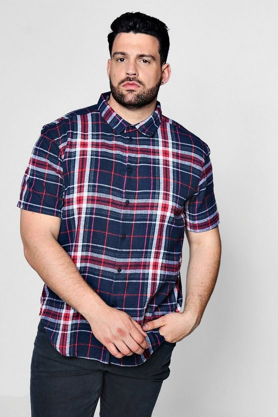 Big And Tall Multi Check Short Sleeve Shirt, Navy, HERREN