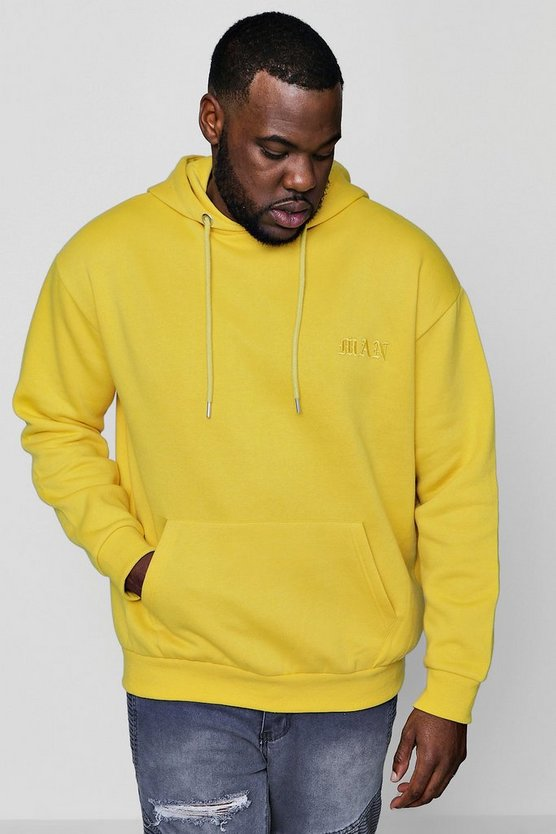 Big And Tall MAN Embroidered Hoodie In Fleece