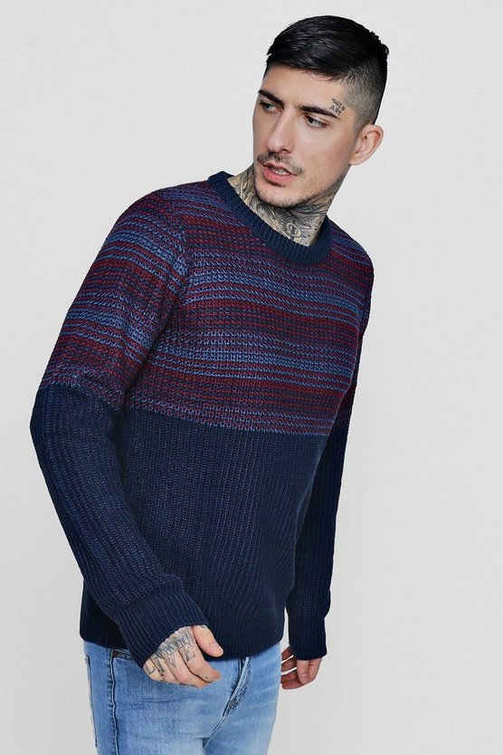 Jacquard Crew Neck Knit