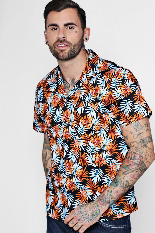 Short Sleeve Tropical Leaf Revere Shirt