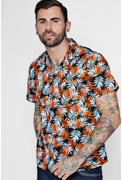 Short Sleeve Tropical Leaf Revere Shirt, Orange, Uomo
