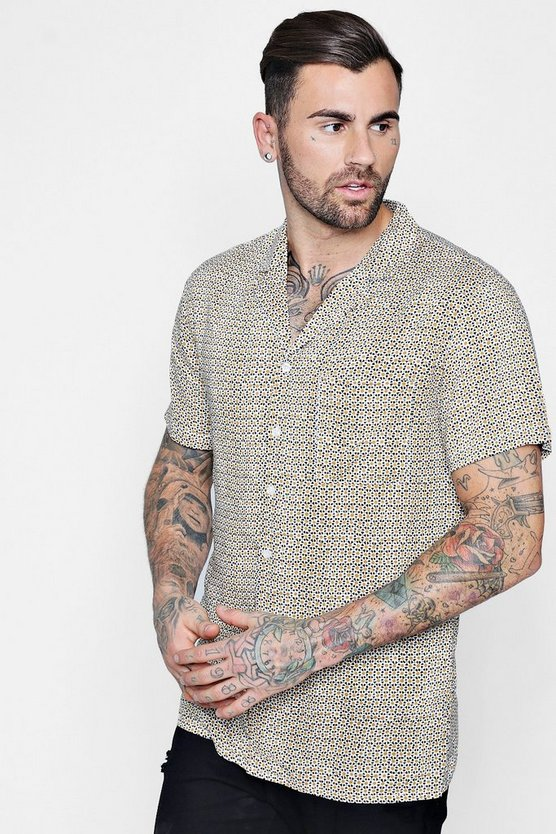Tile Print Short Sleeve Revere Shirt