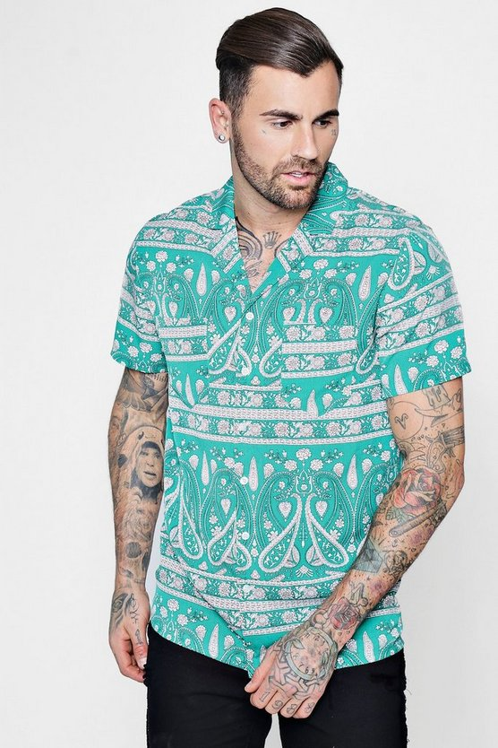 Paisley Border Print Short Sleeve Revere Shirt
