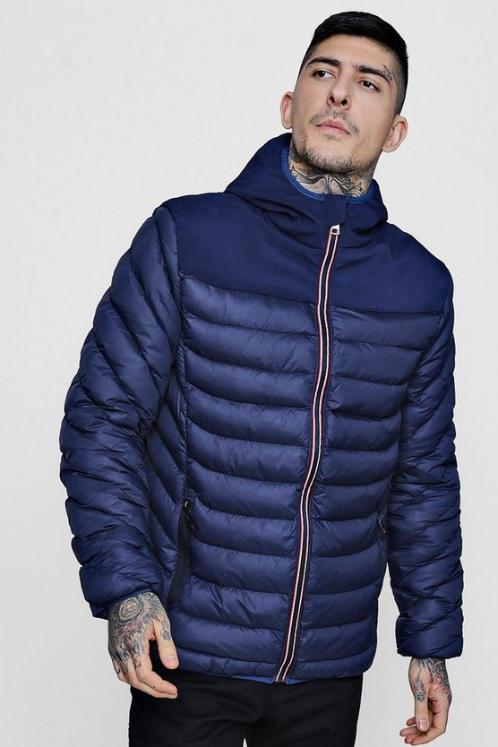 Mens Navy Hooded Puffer With Sports Zip Tape