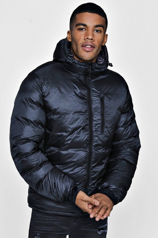 Mens Black Concealed Quilting Zip Through Jacket