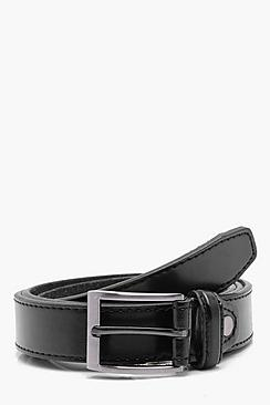 Narrow PU Belt with Leather Lining