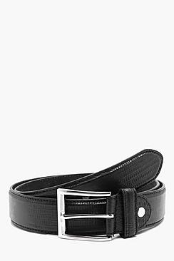 Croc Effect PU Belt with Leather Lining