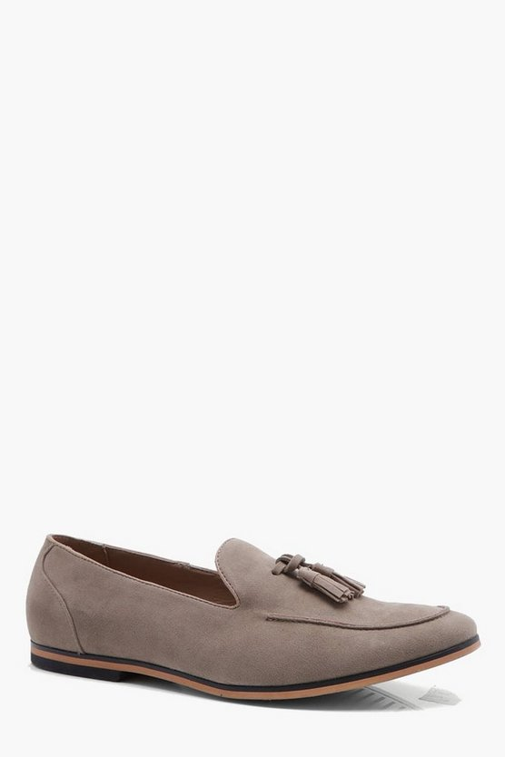 Mens Sand Faux Suede Tassel Loafer