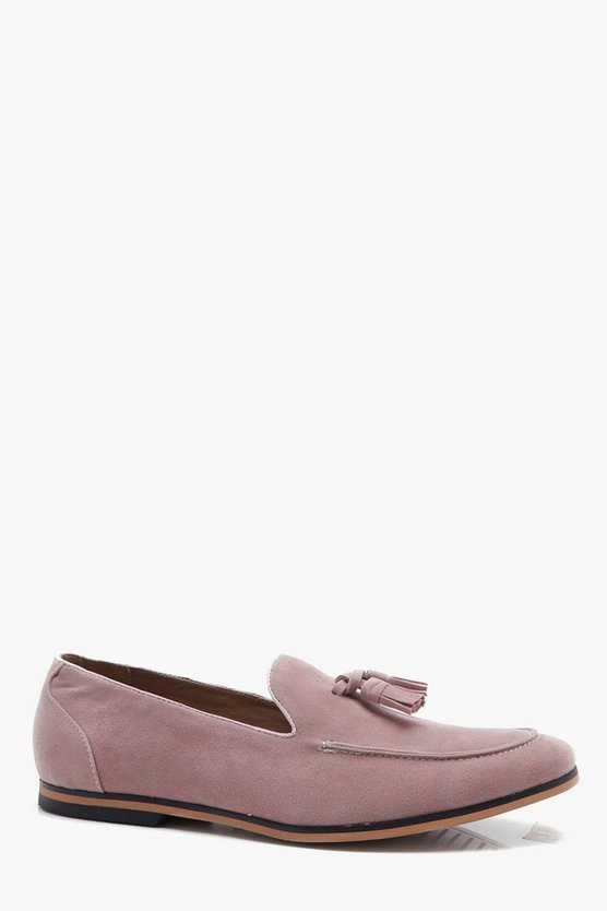 Mens Pink Faux Suede Tassel Loafer