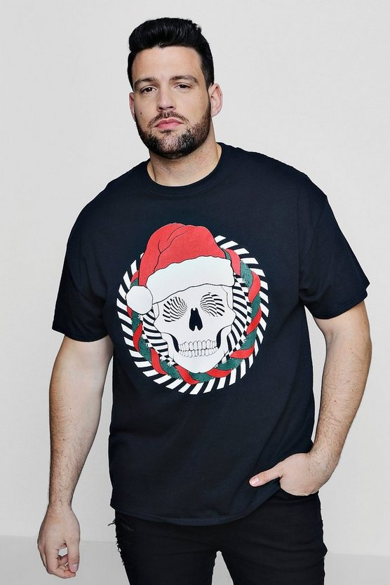 Big And Tall Skull Santa T-Shirt