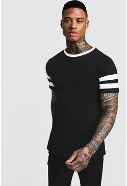 Herr Black Contrast Panel Short Sleeve T-Shirt