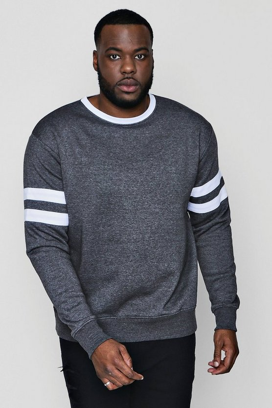 Big And Tall Long Sleeve Contrast Stripe Sweatshirt