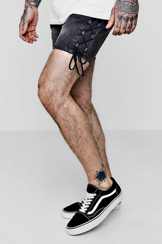 Mens Grey Slim Fit Denim Shorts With Lace Up Detailing