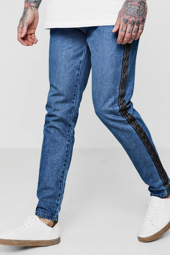 Skinny Fit Denim Jeans With Aztec Side Tape