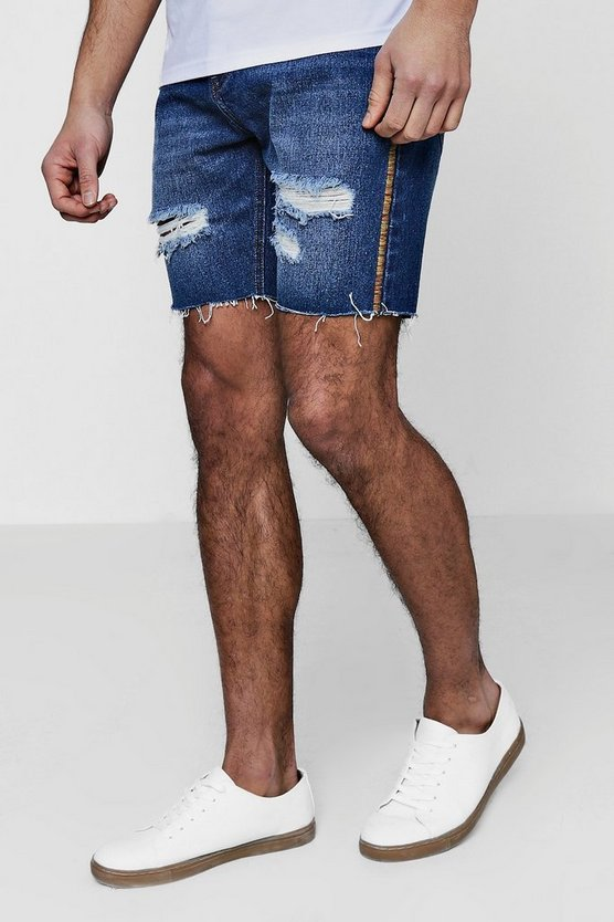 Slim Fit Raw Edge Denim Shorts With Festival Piping