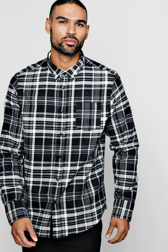 Mens Black Long Sleeve Brushed Check Shirt