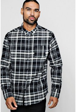 Long Sleeve Brushed Check Shirt, Black, Uomo