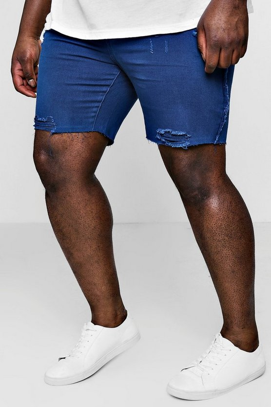 Mens Navy Big And Tall Slim Distressed Denim Shorts